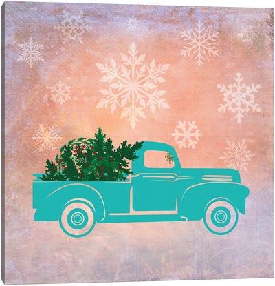 Teal Christmas Truck Canvas Art Print
