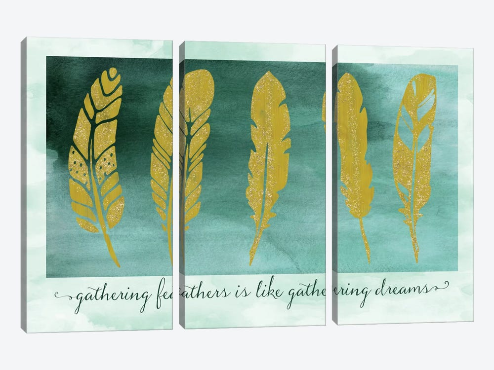 Gathering Feathers by Tina Lavoie 3-piece Canvas Artwork