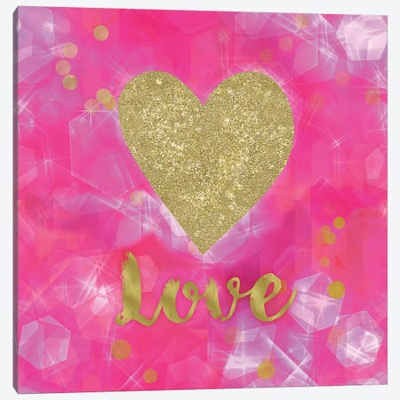 Glitter Love Pink Canvas Print #TLA9} by Tina Lavoie Canvas Art