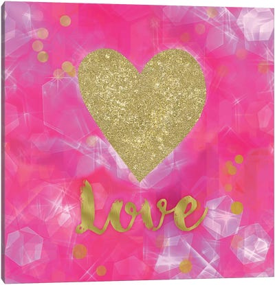 Glitter Love Pink Canvas Print #TLA9