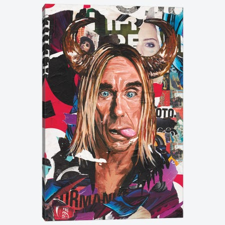 Iggy Pop Canvas Print #TLL35} by TOMADEE Canvas Print
