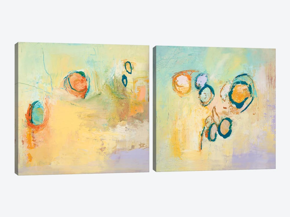 Secret Sweeping Sky Circles Diptych by Tracy Lynn Pristas 2-piece Canvas Wall Art