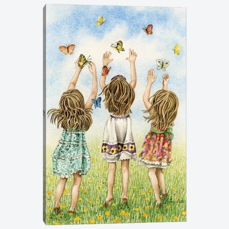 Chasing Butterflies Canvas Print #TLZ103} by Tracy Lizotte Art Print