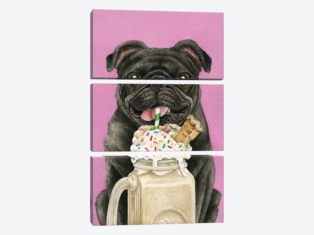 Brain Freeze With Black Pug by Tracy Lizotte 3-piece Art Print