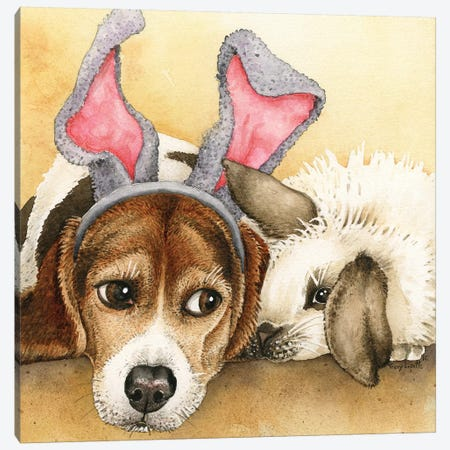 Bunny Friends Canvas Print #TLZ13} by Tracy Lizotte Canvas Art