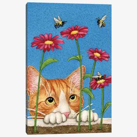 Curious Cat Canvas Print #TLZ24} by Tracy Lizotte Canvas Wall Art