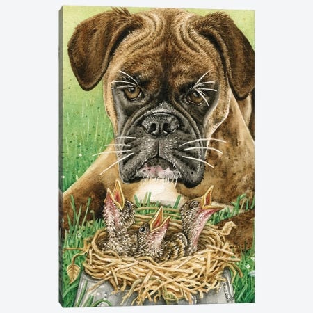 Dog Dish Dilemma Canvas Print #TLZ25} by Tracy Lizotte Canvas Artwork