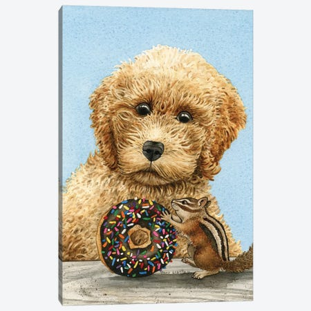 Donut Thief Canvas Print #TLZ27} by Tracy Lizotte Canvas Wall Art