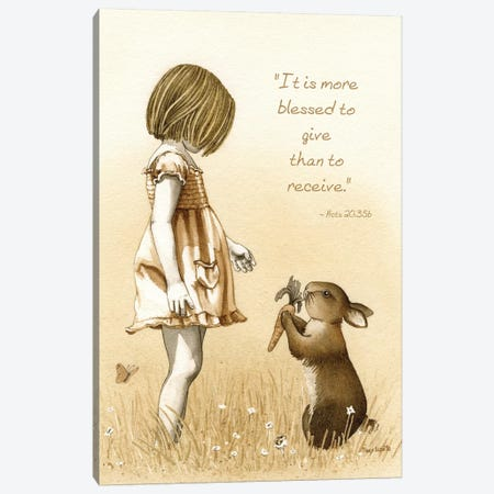 Girl With The Giving Rabbit Canvas Print #TLZ39} by Tracy Lizotte Canvas Art