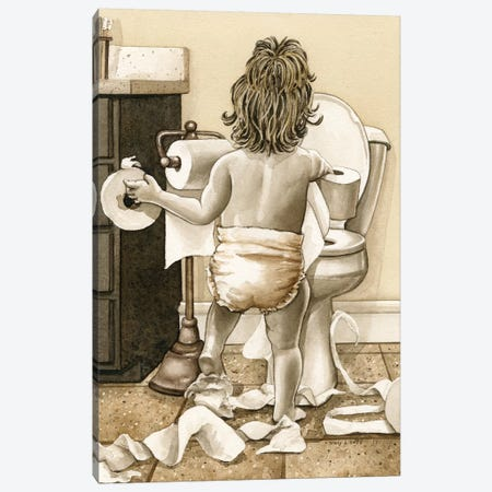 Toddler With Toliet Paper Canvas Print #TLZ85} by Tracy Lizotte Canvas Art