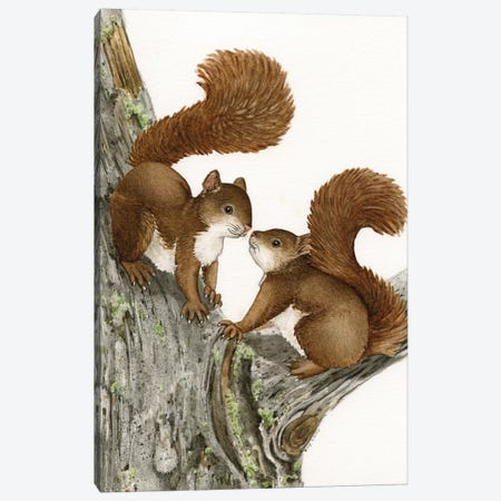 Two Squirrels Canvas Print #TLZ87} by Tracy Lizotte Canvas Artwork