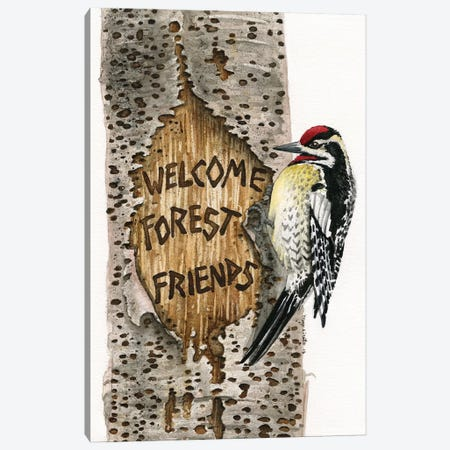 Welcome Forest Friends Canvas Print #TLZ89} by Tracy Lizotte Art Print