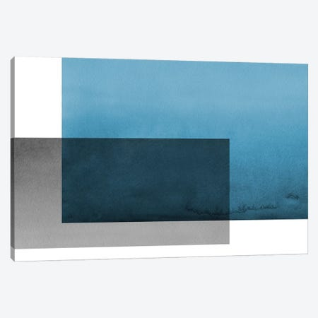 Colorblock Blue Gray Canvas Print #TMD15} by The Maisey Design Shop Canvas Artwork