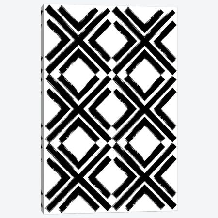 Cross Pattern Black Canvas Print #TMD16} by The Maisey Design Shop Canvas Artwork