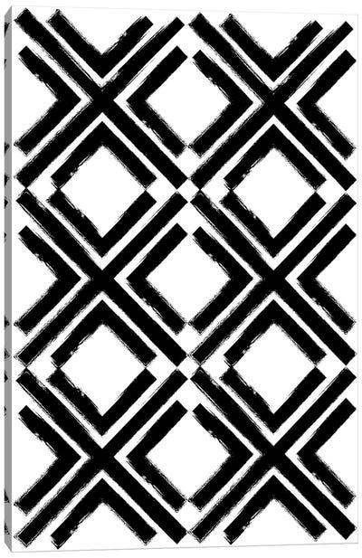 Cross Pattern Black Canvas Art Print
