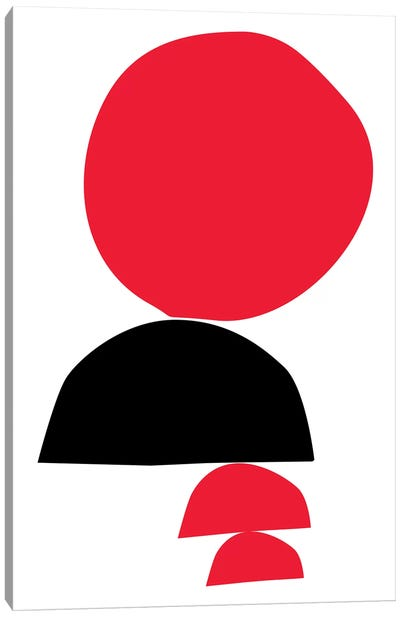 Stacked - Red & Black Canvas Art Print