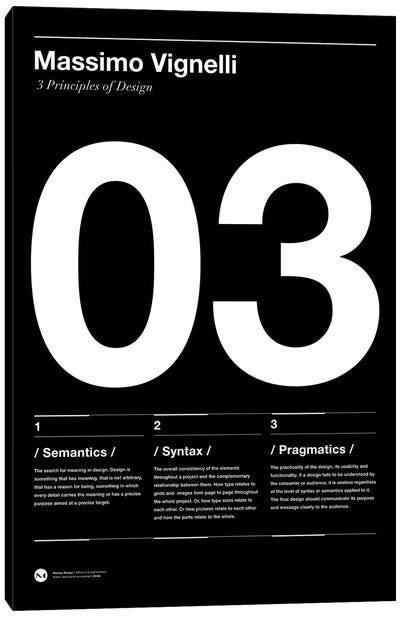 Vignelli's Three Principles of Design Canvas Art Print