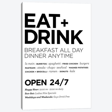 Eat + Drink Canvas Print #TMD58} by The Maisey Design Shop Art Print