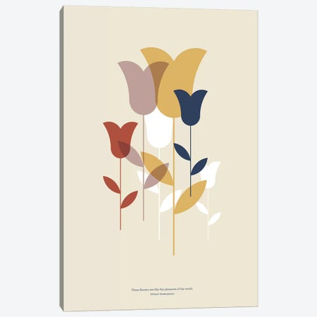 Mid-Century Flowers Canvas Print #TMD60} by The Maisey Design Shop Canvas Artwork