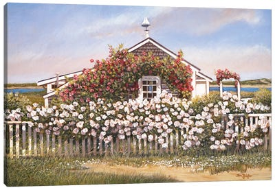 Cottage and Roses Canvas Art Print