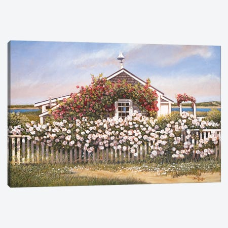 Cottage and Roses Canvas Print #TMI12} by Tom Mielko Canvas Wall Art
