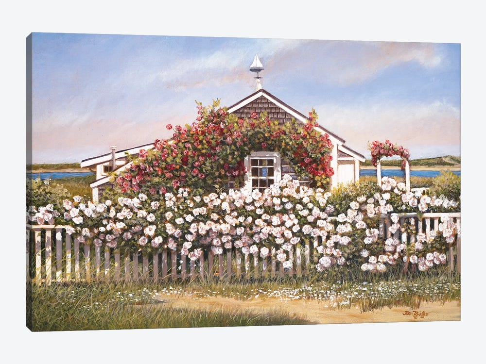 Cottage and Roses by Tom Mielko 1-piece Canvas Artwork
