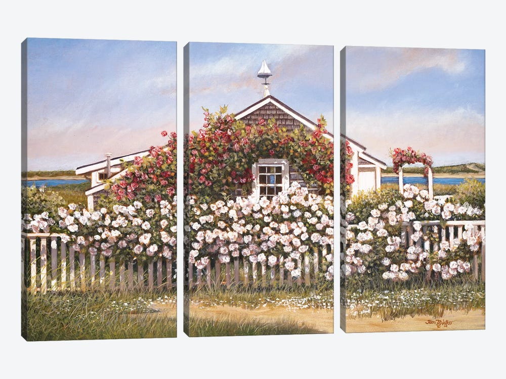 Cottage and Roses by Tom Mielko 3-piece Canvas Art