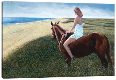Girl on Chestnut Mare Canvas Art Print