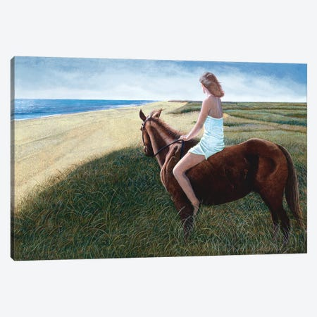 Girl on Chestnut Mare Canvas Print #TMI18} by Tom Mielko Canvas Artwork