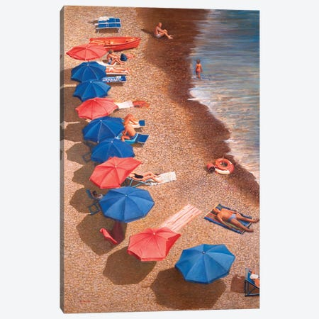 Beach Umbrellas I Canvas Print #TMI6} by Tom Mielko Canvas Art