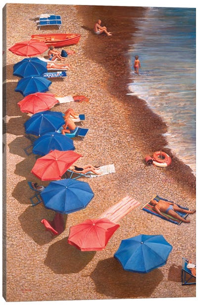Beach Umbrellas I by Tom Mielko Canvas Art Print