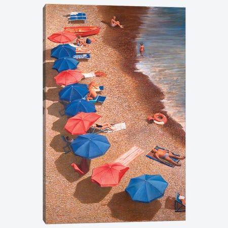 Beach Umbrellas I Canvas Print #TMI6} by Tom Mielko Canvas Art