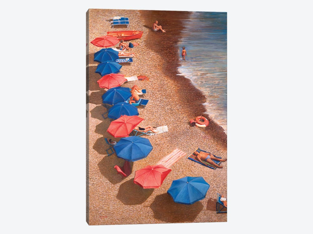 Beach Umbrellas I by Tom Mielko 1-piece Canvas Print