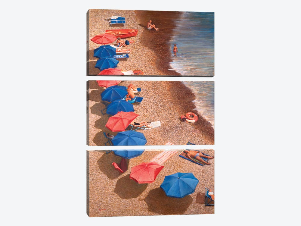 Beach Umbrellas I by Tom Mielko 3-piece Art Print