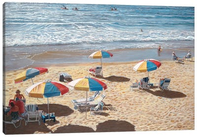Beach Umbrellas II by Tom Mielko Canvas Art Print