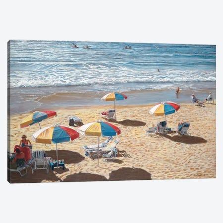 Beach Umbrellas II Canvas Print #TMI7} by Tom Mielko Canvas Art