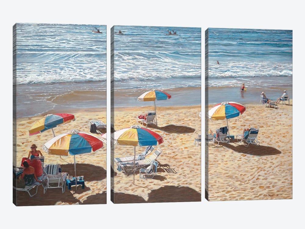 Beach Umbrellas II by Tom Mielko 3-piece Canvas Wall Art