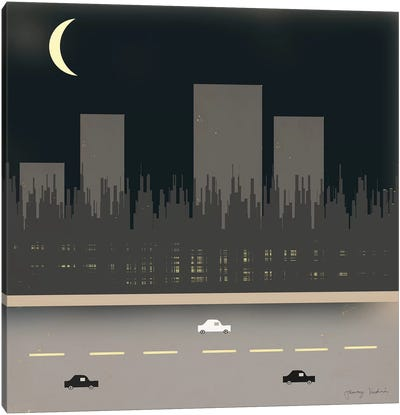 Nightime In The City I Canvas Art Print