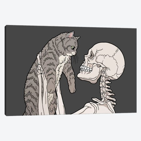 Hello Cat Canvas Print #TMN16} by Tiina Menzel Canvas Art