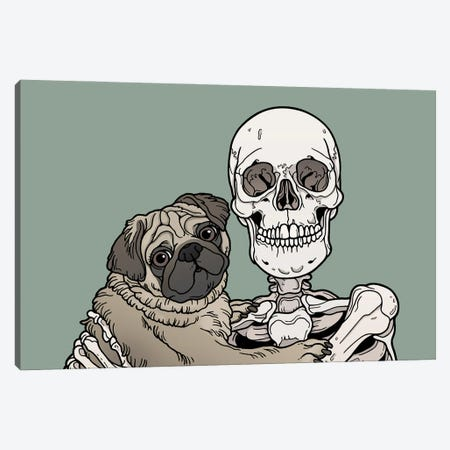 Pug Friend Canvas Print #TMN17} by Tiina Menzel Canvas Art