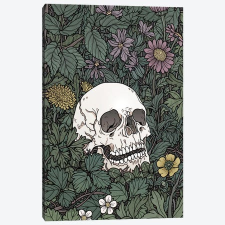 Skull And Flowers Canvas Print #TMN24} by Tiina Menzel Art Print