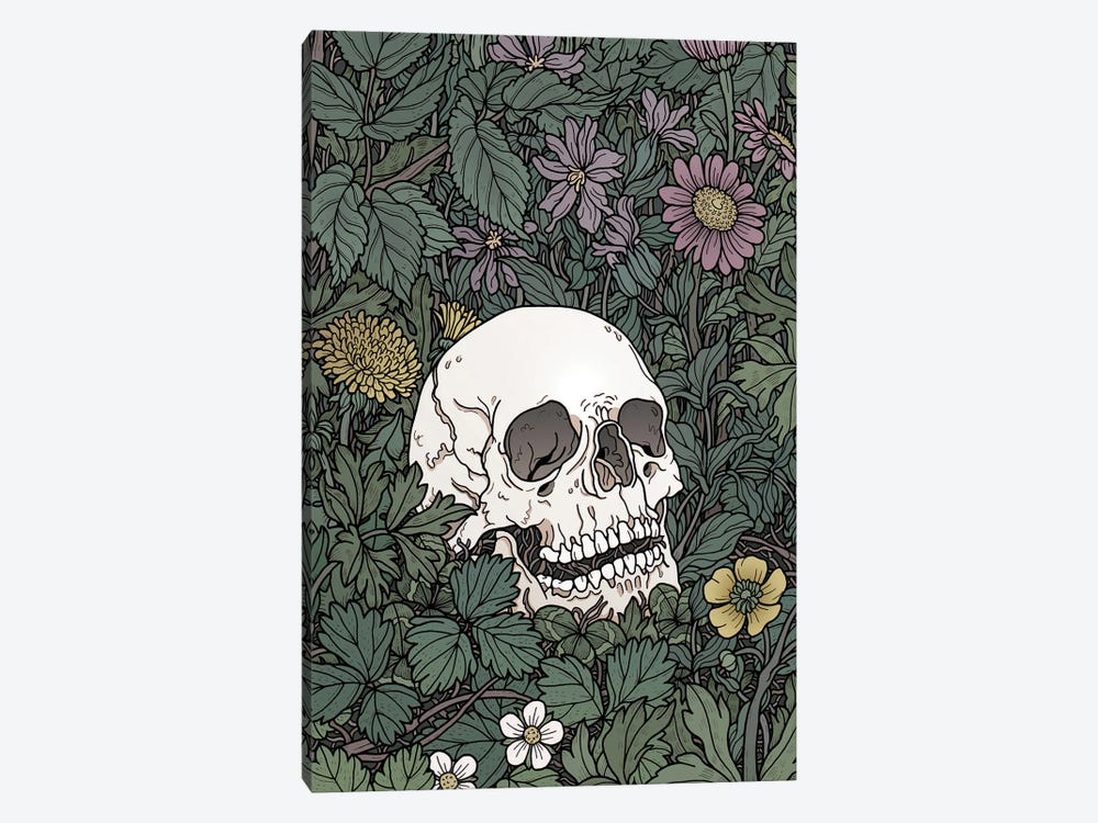 Skull And Flowers by Tiina Menzel 1-piece Canvas Wall Art