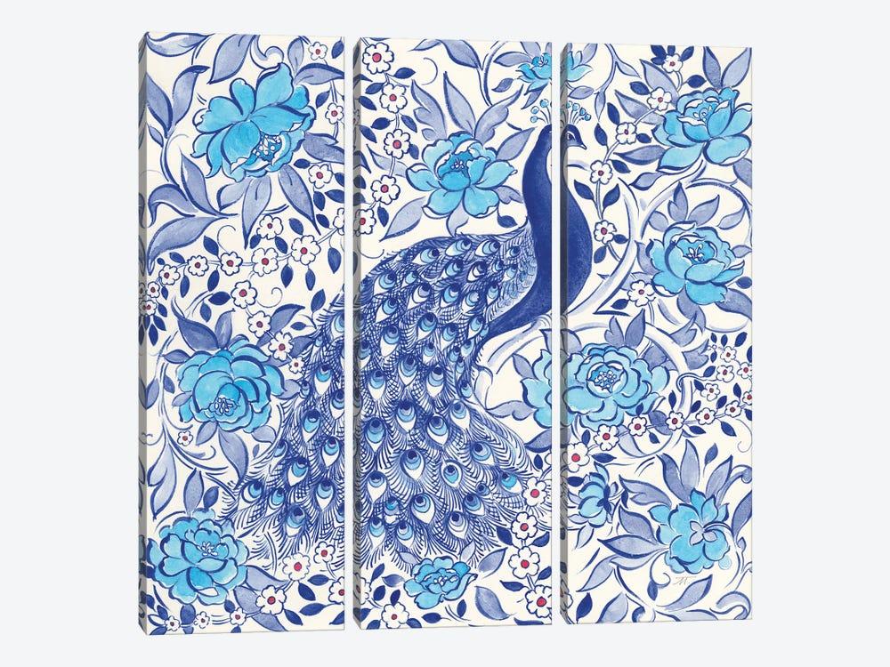Peacock Garden III by Miranda Thomas 3-piece Canvas Print