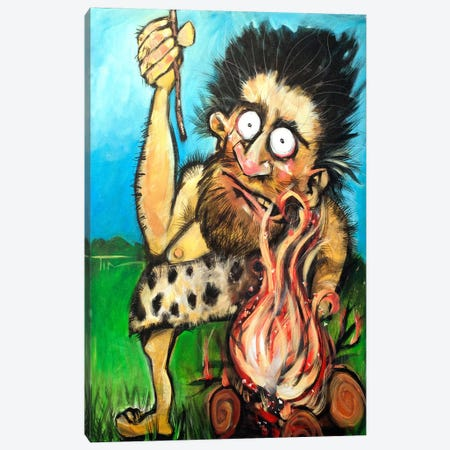 Caveman Fire Canvas Print #TNG106} by Tim Nyberg Canvas Artwork