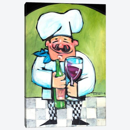 Chef With Wine A Canvas Print #TNG108} by Tim Nyberg Canvas Print