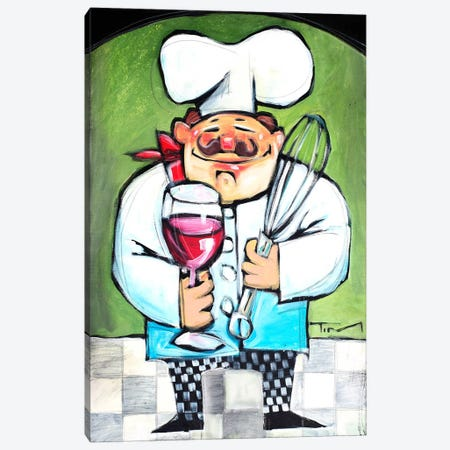 Chef With Wine And Wisk Canvas Print #TNG109} by Tim Nyberg Canvas Print