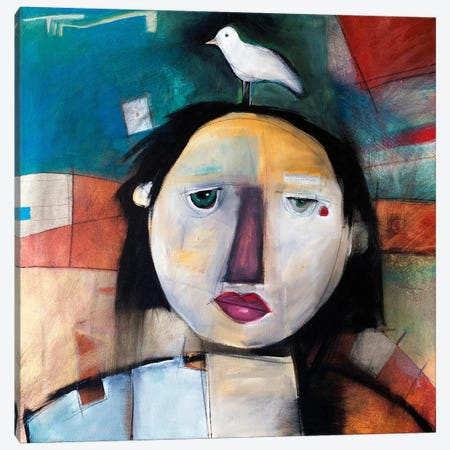 Girl With Dove On Head Canvas Print #TNG123} by Tim Nyberg Art Print