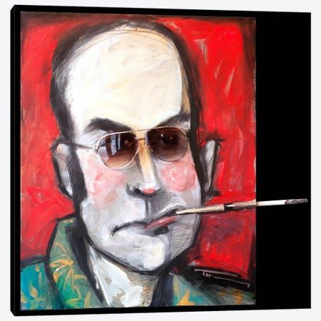 Hunter S Thompson With Cig Black Canvas Print #TNG131} by Tim Nyberg Canvas Artwork