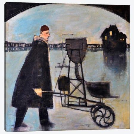 Man Walking Machine On Beach 2 Canvas Print #TNG148} by Tim Nyberg Art Print