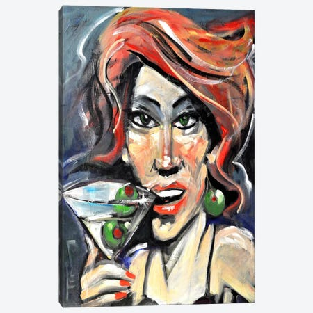 Woman With Martini Canvas Print #TNG189} by Tim Nyberg Art Print